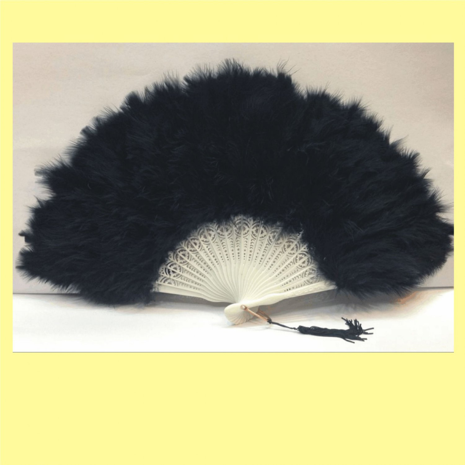 Black Marabou feather fan costumes Ladies Fancy Dress Wedding party burlesque