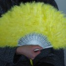 Yellow Marabou feather fan costumes Ladies Fancy Dress Wedding party burlesque