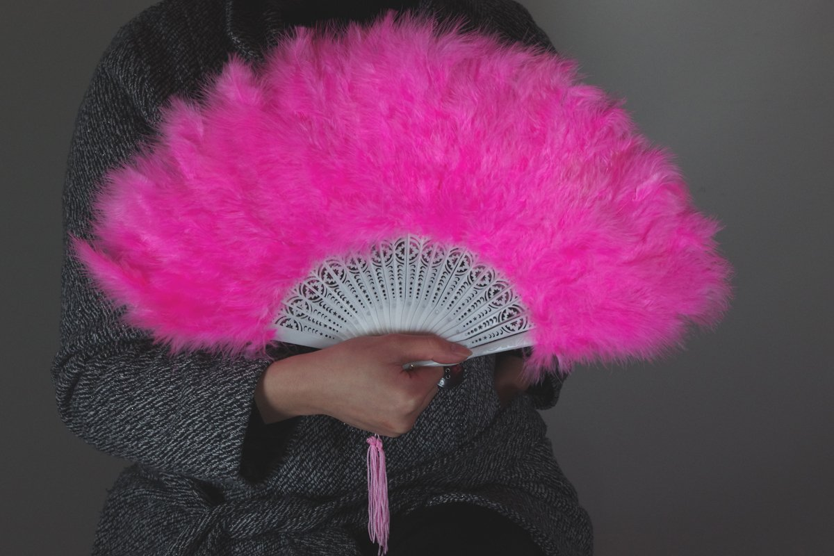 PinkMarabou feather fan costumes Ladies Fancy Dress Wedding party burlesque