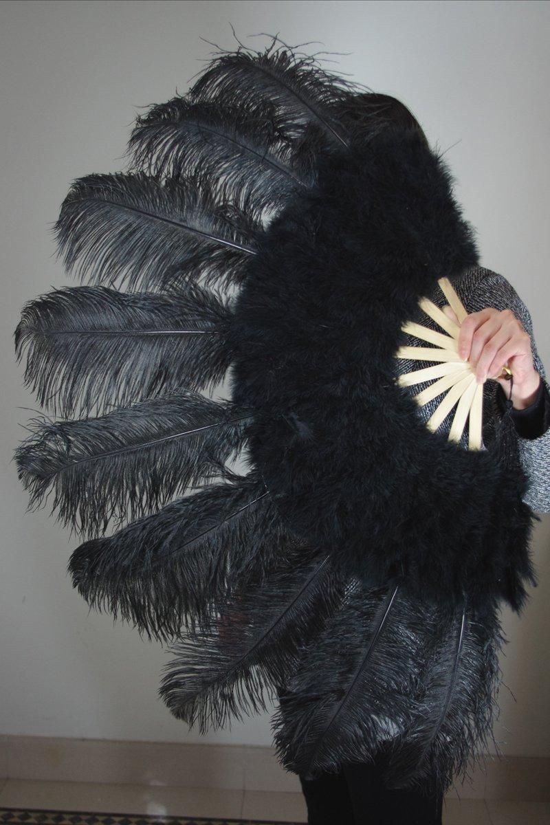 """Black Marabou Fan Large Feather Fan Burlesque Fan 24"""" x 43"""""""