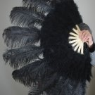 "Black Marabou Fan Large Feather Fan Burlesque Fan 24"" x 43"""