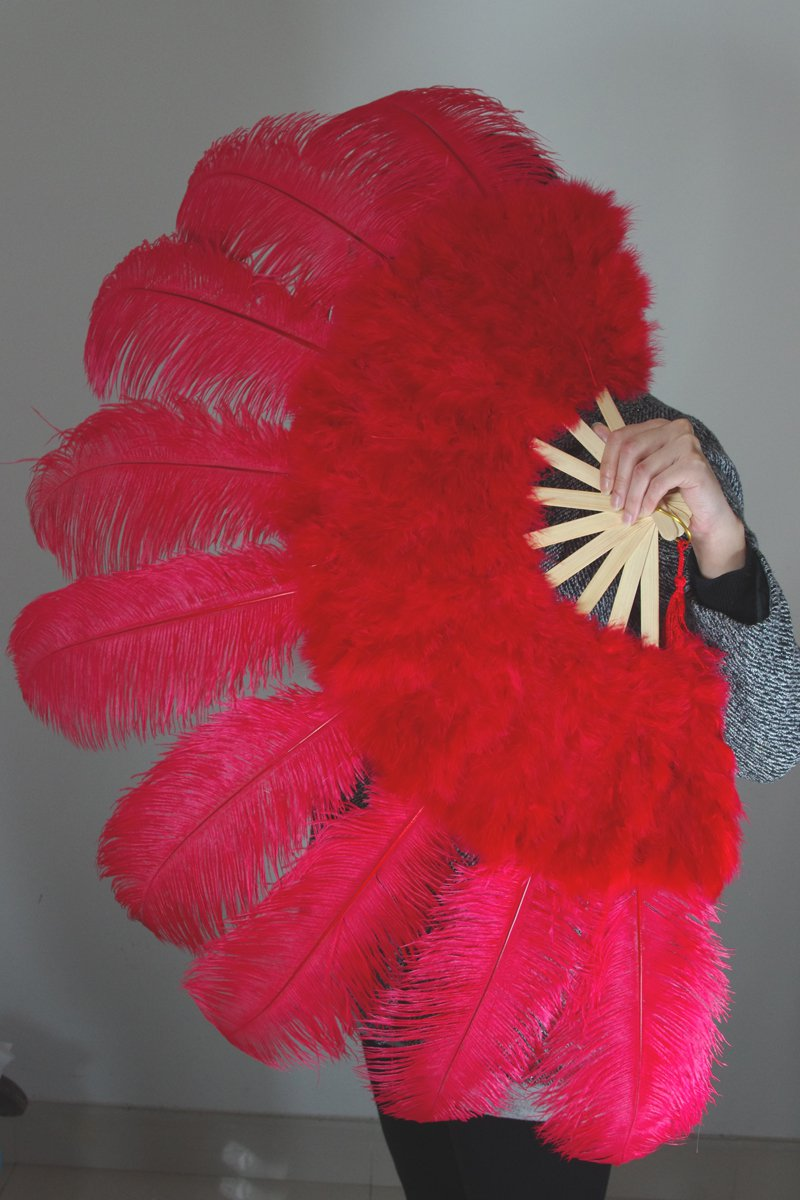 "Red Marabou Fan Large Feather Fan Burlesque Fan 24"" x 43"""