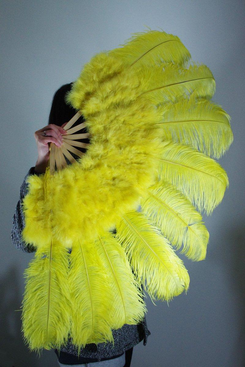 """Yellow Marabou Fan Large Feather Fan Burlesque Fan 24"""" x 43"""""""