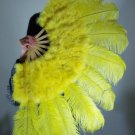 "Yellow Marabou Fan Large Feather Fan Burlesque Fan 24"" x 43"""