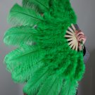 "Green Marabou Fan Large Feather Fan Burlesque Fan 24"" x 43"""