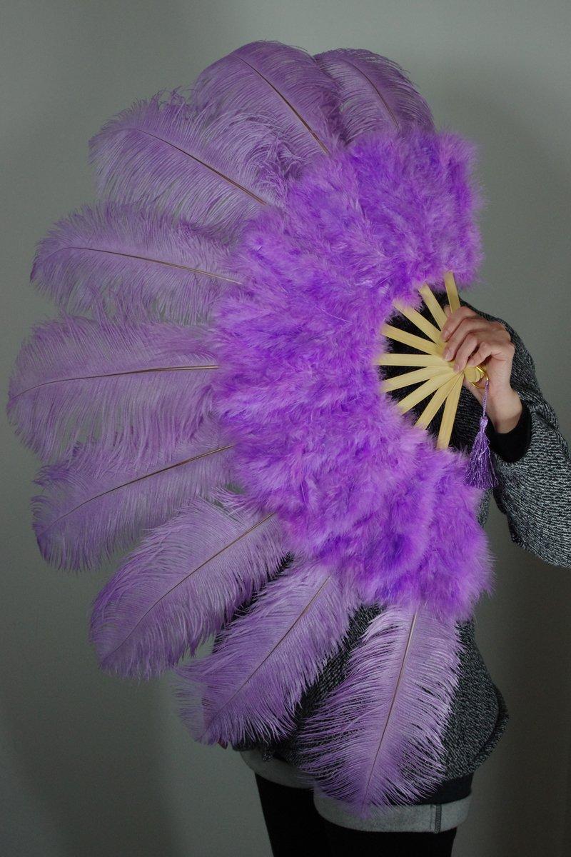 """Purple Marabou Fan Large Feather Fan Burlesque Fan 24"""" x 43"""""""