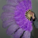 "Purple Marabou Fan Large Feather Fan Burlesque Fan 24"" x 43"""
