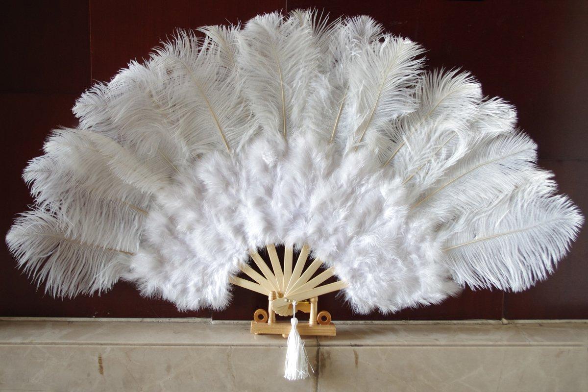 """White Marabou Fan Large Feather Fan Burlesque Fan 21"""" x 38"""""""