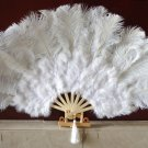 "White Marabou Fan Large Feather Fan Burlesque Fan 21"" x 38"""