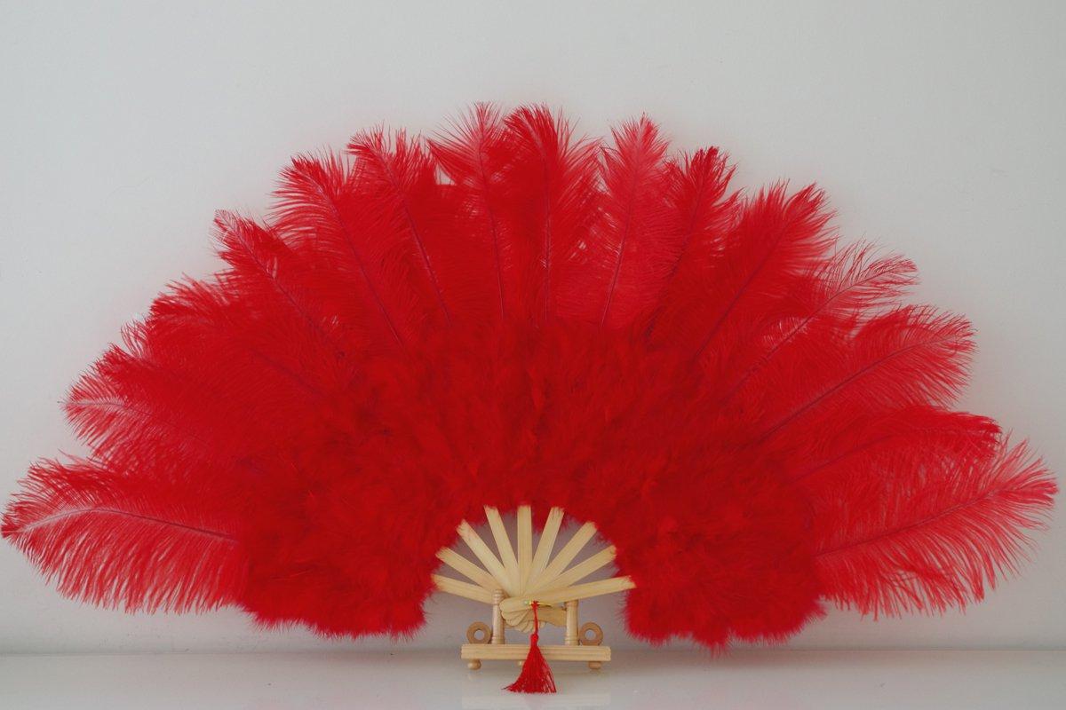 """Red Marabou Fan Large Feather Fan Burlesque Fan 21"""" x 38"""""""