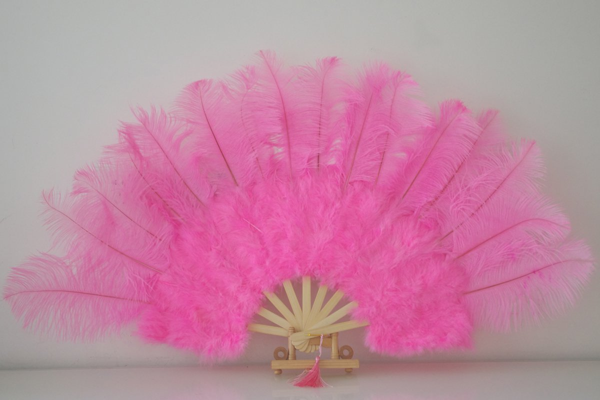 "Pink Marabou Fan Large Feather Fan Burlesque Fan 21"" x 38"""
