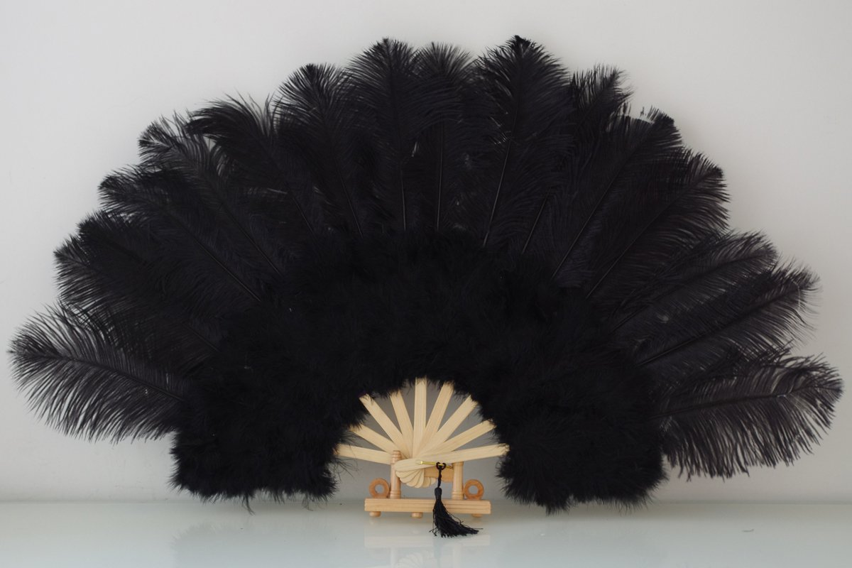"Black Marabou Fan Large Feather Fan Burlesque Fan 21"" x 38"""