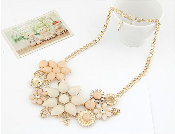 Women Flower Necklaces Collier Femme Gold Chain Choker Colares Bijoux Accessories