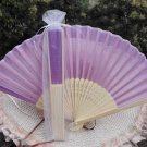 Free Shipping 20Pcs/Lot Plain Purple Silk Hand Fans for Wedding 21cm with Organza Gift Bag