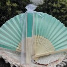 Free Shipping 20Pcs/Lot Plain Light Green Silk Hand Fans for Wedding 21cm with Organza Gift Bag