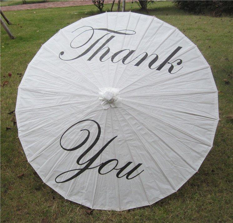 """33"""" White Paper Parasol Thank You  Parasol Photography Prop Parasol Ceremony Decor"""