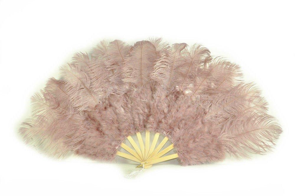 """Beige wood  Marabou Fan Large Feather Fan Burlesque Fan 21"""" x 38"""""""