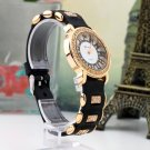 Bling Crystal Golden Women Girl Ladies Quartz Silicon Wrist Watch Strap Black GP