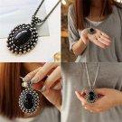 Fashion Retro Silver Ellipse Black Gemstone Girls Long Sweater Necklace FE