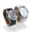 Fashion Big Leather Band Over Size Face Men Boys Sport Quartz Wrist Watch GP