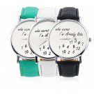 New Fashion Luxury Women's Men's Wrist Watches PU Leather Band Funny Cute FE