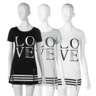 BOHO Ladies Cotton Casual Long Tops Blouse Summer Love Printed Mini Dress EF