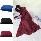 Supper Home Winter Warm Fleece Snuggie Blanket Robe Cloak With Sleeves CAF