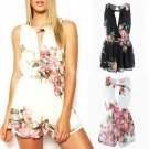 Women Sleeveless Floral V Neck Playsuit Bodycon Party Backless Jumpsuit Romper