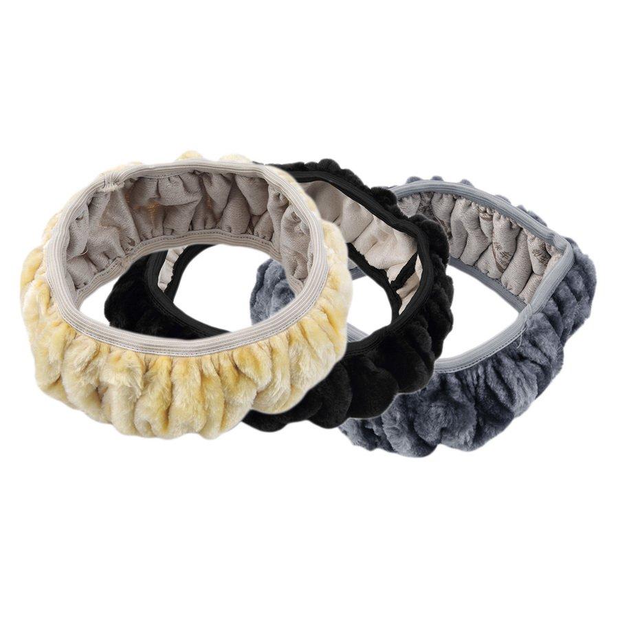 Charm Warm Long Wool Plush Steering Wheel Cover for Car Handbrake Accessory FE