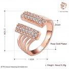 Popular Women Opening Ring Zircon Crystal Size 8 Wedding Jewelry Gift FE
