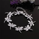 New Fashion Women's Silver Plating Charm Dragonfly Chain Bangle Bracelet FE