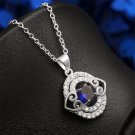 New Fashion Women Charm Ellipse Crystal Heart Pendant Necklace Jewelry Gift FE