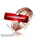 Women Elegant Rose Gold-Plated Red Crystal Bar Ring US Size 8 Party Jewelry FE