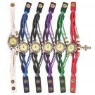 Retro Women Wrist Watch Quartz Cross Pendant Weave Wrap Bracelet Gift FE