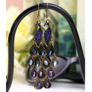 Women Bohemian Style Lady Long Pendant Vintage Retro Blue Peacock Earrings FE