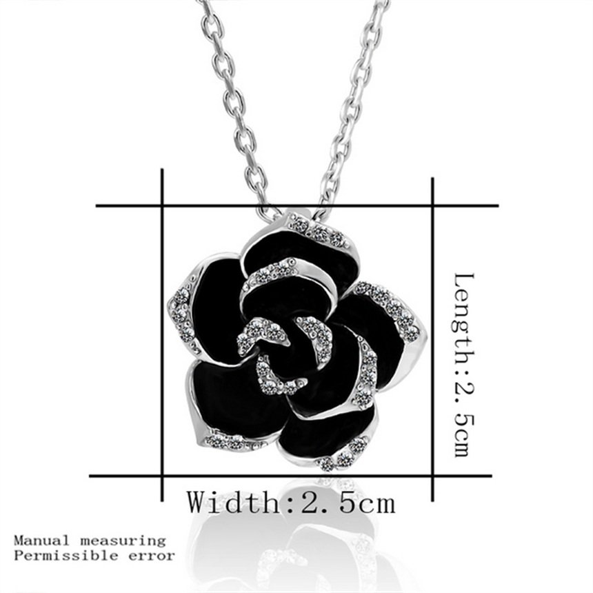 Fashion Women Black Rose Pendant Alloy Platinum Plated Necklace Chain Gift FE