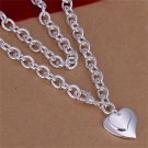 New Fashion Simple Women Silver 18 inchs Two-heart ROLO Necklace Accessory FE