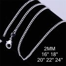 2mm 18 inch Fashion Men Women Silver Plating Curb Link Chain Necklace FE