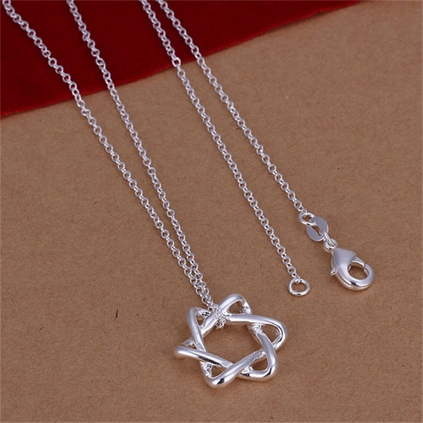 Simple Women Fashion Charm Clear Silver Shinning Star Pendant Necklace Gift FE