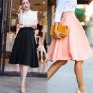Women Grils Fashion Skirt Elegant Solid High Waist Slim Pleated A-line Skirt FE