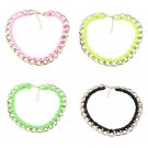 Women's String Collar Necklace Bright Fluorescent Metal Link Chain Jewelry FE
