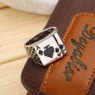 1pc Fashion Unique Men's Spades Card Game Lucky Finger Ring Jewelry New FE