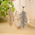 Women Charming Feather Crystal Rhinestone Pendant Chain Necklace Jewelry FE