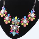 Fashion Women Flower Charm Crystal Jewelry Chain Pendant Choker Necklace FE