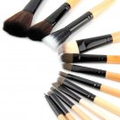 New 12PCS Pro Makeup Brush Set Cosmetic Tool Leopard Bag Beauty Brushes EF
