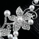 Crystal Rhinestone Faux Pearl Flower Party Bridal Headband Hair Band Tiara FE