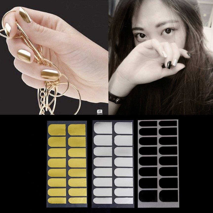 3Sheet Nail Stickers Foil Decor 3 Colors Metal Manicure Black Gold Silver FE