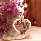 Women Girls Gold Peach Heart Dry Flower Glass Pendant Necklace Chain Gift FE