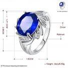 Blue Rhinestone Hollow Design Zircon Crystal Ring Size 8 Women Jewelry FE