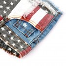 Hot Sexy American US Flag Mini Jeans Shorts Pants Trousers Denim Low Waist EF